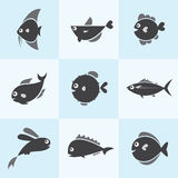 Set of  fish icons. On blue background Royalty Free Stock Images