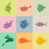Set of  fish icons. On the turnovers Royalty Free Stock Photos