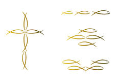 Set of fish illustrations. Set of four gold-colored fish illustrations (religion, zodiac Royalty Free Stock Photo