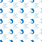 Set of Fish. Marlin Seamless Pattern Stock Images