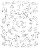 Set of fish. Page coloring for adults Stock Photos