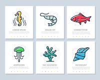 Set of fish and sea food colored elements for multipurpose a4 presentation template. Leaflet, corporate report royalty free illustration