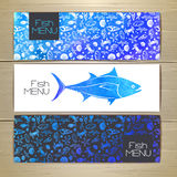 Set of fish seafood banners. Royalty Free Stock Images