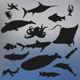Set of fish silhouette icon on the blurred background. stock vec Stock Photo