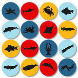 Set of fish silhouette icon. stock  Stock Photography