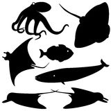 Fish silhouettes vector set 4. Set of fish silhouettes isolated on white Stock Photography