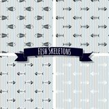 Set of Fish Skeleton Seamless Patterns Stock Photography