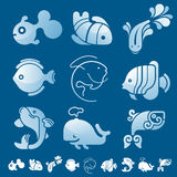 Set of fish symbol icons. Set of 12 icons with fish silhouettes Stock Photo