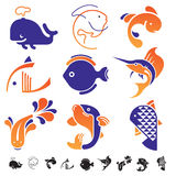 Set of fish symbol icons. Set of 9 icons with fish silhouettes Royalty Free Stock Images