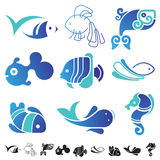 Set of fish symbol icons. Set of 9 icons with fish silhouettes Stock Photo