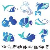 Set of fish symbol icons. Stock Photo