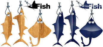 Set of Fish Tags - 8 Items Royalty Free Stock Photos