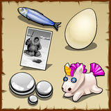 Set of fisherman, the egg, toy and stones Stock Image
