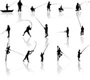 Set of Fisherman  silhouettes Stock Photography