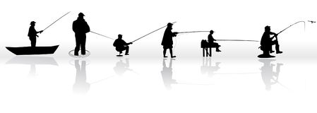 Set of Fisherman  silhouettes Stock Images