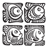 Set of fishes in decorative style. Abstract fishes in decorative style. Vector illustration Royalty Free Stock Images
