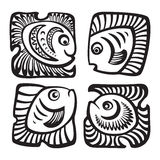 Set of fishes in decorative style. Abstract fishes in decorative style. Vector illustration Stock Images