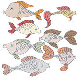 Set of fishes drawing Stock Images