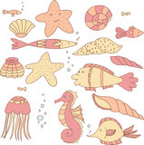 Set of Fishes, Shells, Jellyfishes, Sea Stars and Bubbles Eighteen Elements. Stock Photo