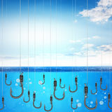 Set of fishhook. In blue sea with blue sky, bait concept Stock Images