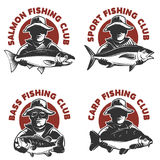 Set of fishing club labels templates. Fisherman silhouette with vector illustration