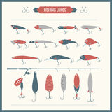 Set of  Fishing equipment in flat style Stock Image