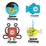 Set fishing, fish finders logo and emblem. Elements stickers spear fishing. Design elements for shops for fishing, web design, accessories for fishing Royalty Free Stock Image