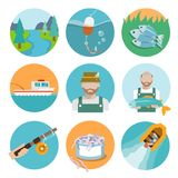 Set of fishing flat icons Stock Photography