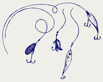 Set of fishing gear. Doodle style Royalty Free Stock Image
