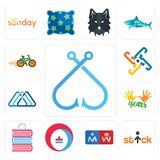 Set of fishing hook, stick figure, restroom, heating cooling, book shop, 10 years, 3 triangle, generic, bike shop icons. Set Of 13 simple editable icons such as Stock Images