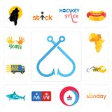 Set of fishing hook, sunday, heating cooling, restroom, sharks, chopper, free delivery, africa map, 10 years icons. Set Of 13 simple editable icons such as Stock Images