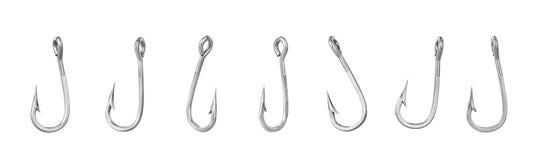 Set of fishing hooks isolated on a white background. 3d illustration Stock Photo