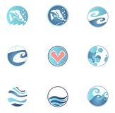 Set of fishing icons. Lovely round water and fish icons Stock Image