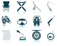Set of fishing icons Stock Photos