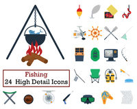 Set of 24 Fishing Icons. Flat color design. Vector illustration Stock Photos