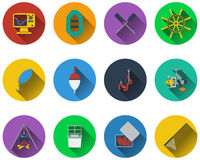 Set of fishing icons. In flat design Stock Photos