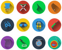 Set of fishing icons. In flat design Stock Image