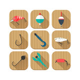 Set of fishing icons for mobile apps, website stock illustration