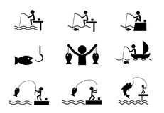 Set of fishing icons in silhouette style, vector. Design Stock Photography