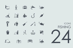 Set of fishing icons Royalty Free Stock Photography