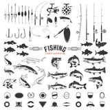 Set of Fishing labels design elements. Rods and fish icons. Des