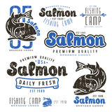 Set of fishing labels in retro style Stock Photo