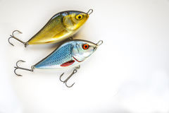 Set Of Fishing lures on white. Spinner Lures And Fishing Floats on white background.Close-Up stock image