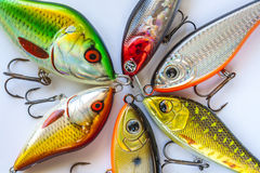 Set Of Fishing lures on white Stock Photography