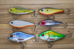 Set Of Fishing lures on wood Stock Image