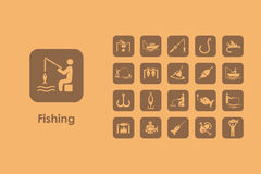 Set of fishing simple icons Royalty Free Stock Photos