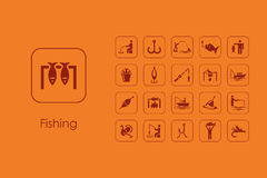 Set of fishing simple icons Royalty Free Stock Photography