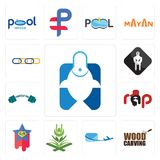 Set of fishing store, wood carving, air mail, quran, superstar, rap, powerlifting, white spartan, supply chain icons. Set Of 13 simple editable icons such as Royalty Free Stock Images