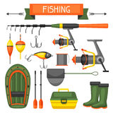 Set of fishing supplies. Objects for decoration, design on advertising booklets, banners, flayers Royalty Free Stock Photography