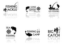 Set of fishing symbols. Set of black fishing symbols with mirror reflection silhouette Royalty Free Stock Images